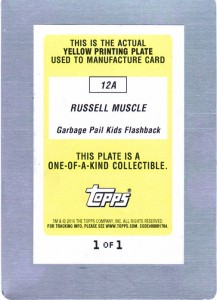 Garbage Pail Kids Flashback Printing Plate 12a - Yellow - Back