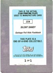 22a Garbage Pail Kids Flashback Printing Plate Cyan - Back