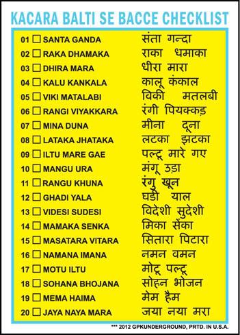 GPKUG Hindi FSIII Checklist